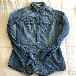 Forever 21 Fitted jean button down shirt